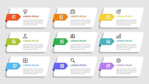 Numeri infografici per opzioni, passaggi, processi aziendali Vettore Premium