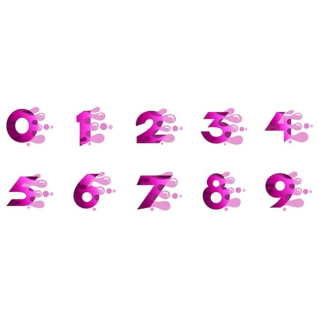 Numeri logo impostato con forma a bolla veloce Vettore Premium