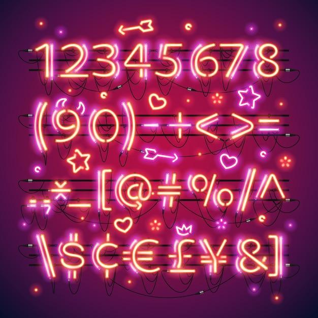 Numeri rossi al neon doppi incandescenti Vettore Premium