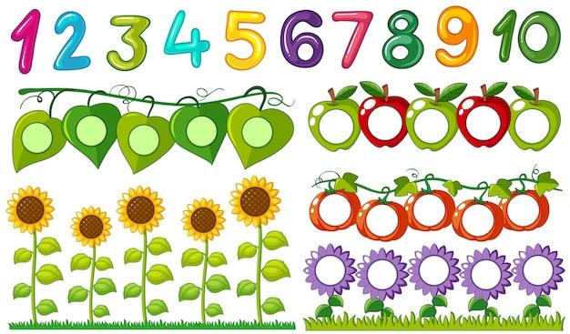 Numero da uno a dieci con foglie e cornici di fiori Vettore gratuito