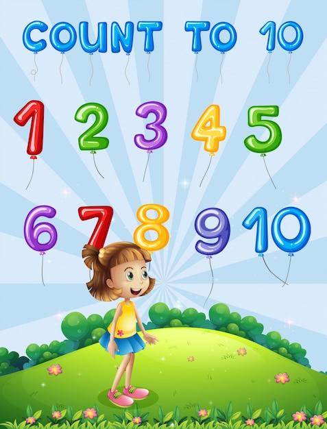 Numero di carte matematiche da 1 a 10 Vettore Premium