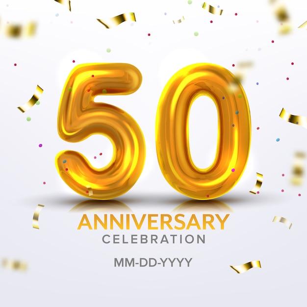 Numero di celebrazione del cinquantesimo anniversario Vettore Premium