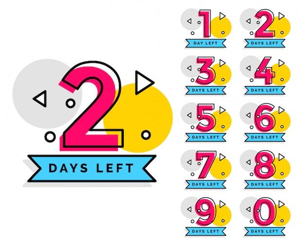 Numero di giorni lasciati badge per la vendita o la promozione Vettore gratuito