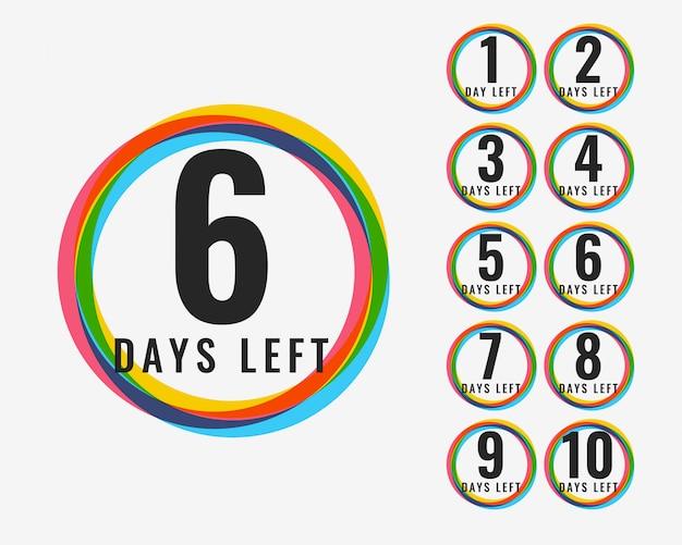 Numero di giorni lasciati design di simboli colorati Vettore gratuito