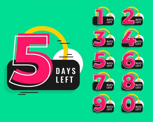 Numero di giorni lasciati design in stile memphis Vettore gratuito