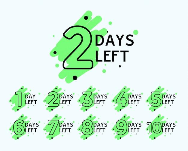 Numero di giorni lasciati tag Vettore gratuito