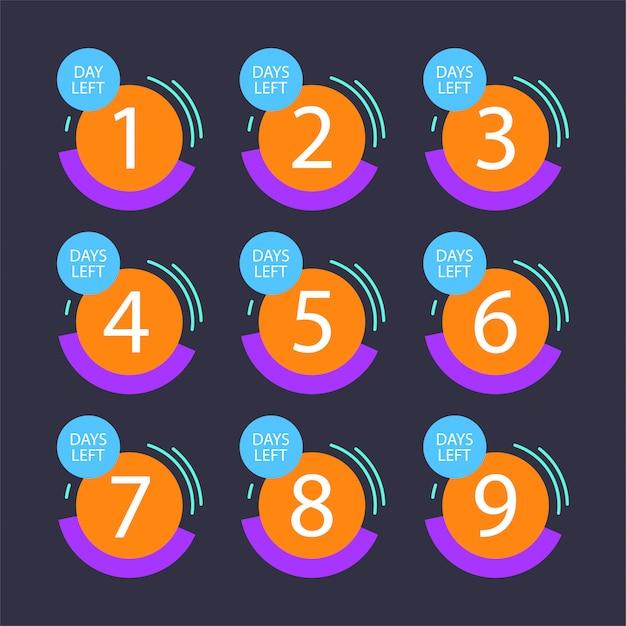 Numero di giorni rimanenti badge Vettore Premium
