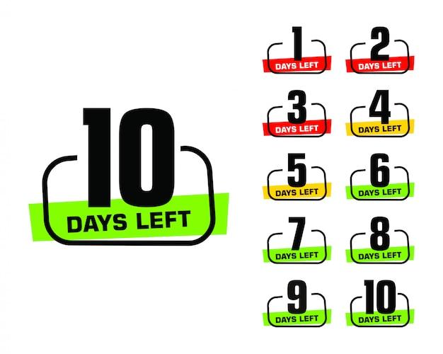 Numero di giorni rimanenti logo banner promozionale Vettore Premium