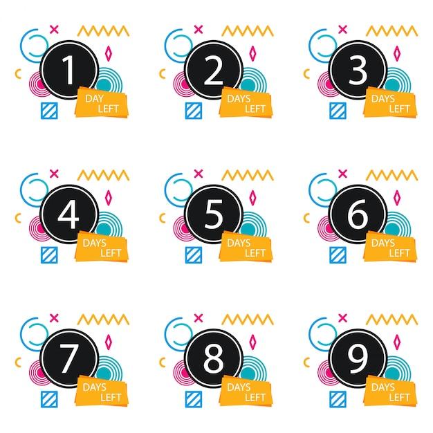 Numero di giorni rimasti badge, per promozione, vendita, modello, flyer, banner, poster e altro Vettore Premium
