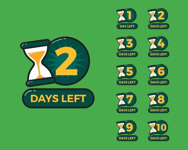 Numero di giorni rimasti con la clessidra del timer della sabbia Vettore Premium