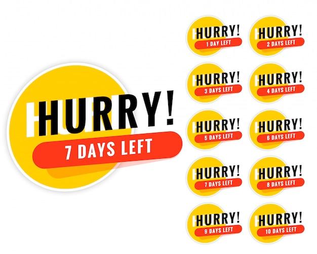 Numero di giorni rimasti design di banner promozionali Vettore gratuito