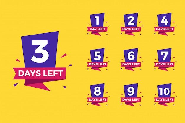 Numero di giorni rimasti impostati Vettore Premium