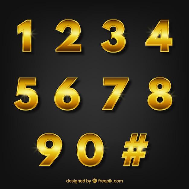 Numero di raccolta con stile dorato Vettore gratuito