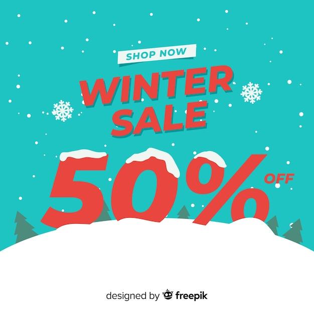 Numero di vendita inverno innevato numero Vettore gratuito