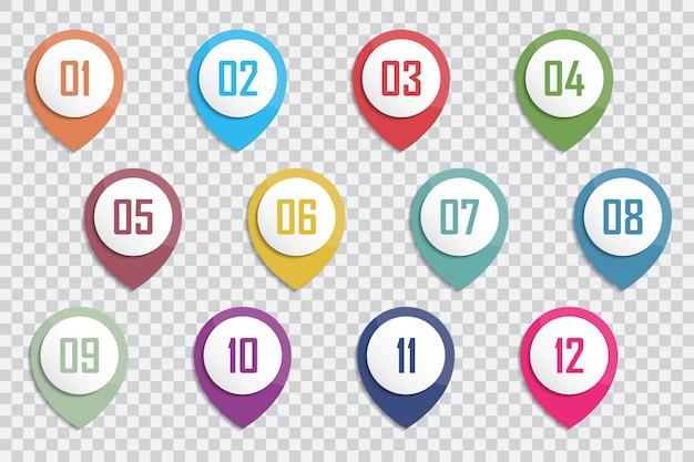 Numero punto elenco proiettili 3d colorati da 1 a 12 vettore Vettore Premium