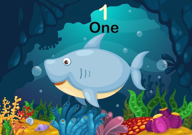 Numero uno squalo sotto il vettore del mare Vettore Premium