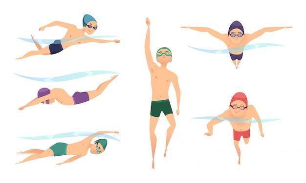 Nuotatori vettoriali. vari personaggi nuotatori in azione pone Vettore Premium