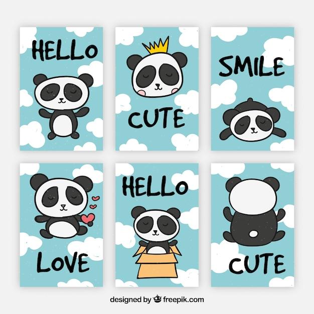 Nuova collezione di carte con orso panda divertente Vettore gratuito