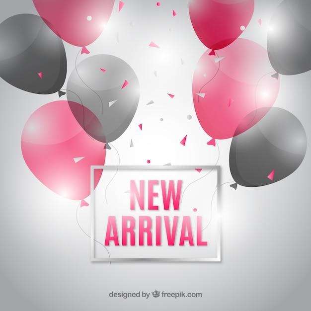 Nuova composizione di arrivo con palloncini realistici Vettore gratuito