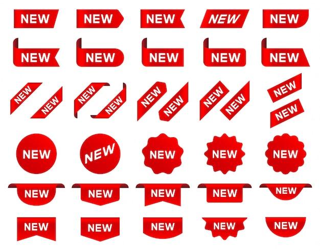 Nuova etichetta e tag. adesivo con la parola nuova. Vettore Premium