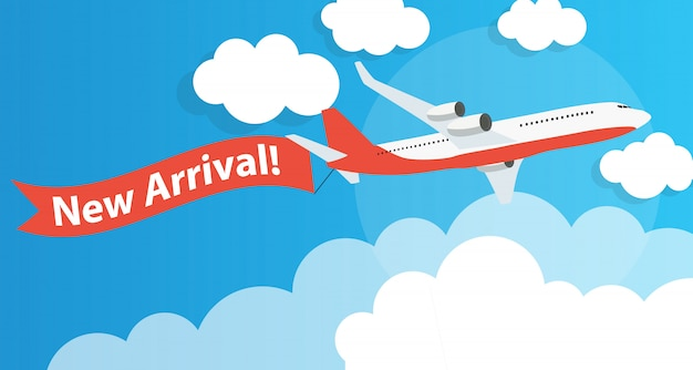 Nuova pubblicità di arrivo con aereo. illustrazione vettoriale Vettore Premium