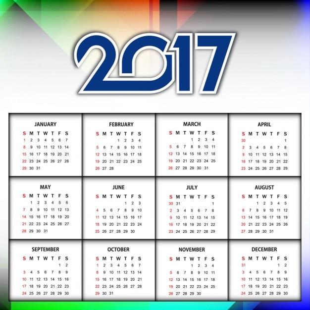 Calendario Anno 2017.Nuovo Anno 2017 Del Calendario Design Colorato Scaricare