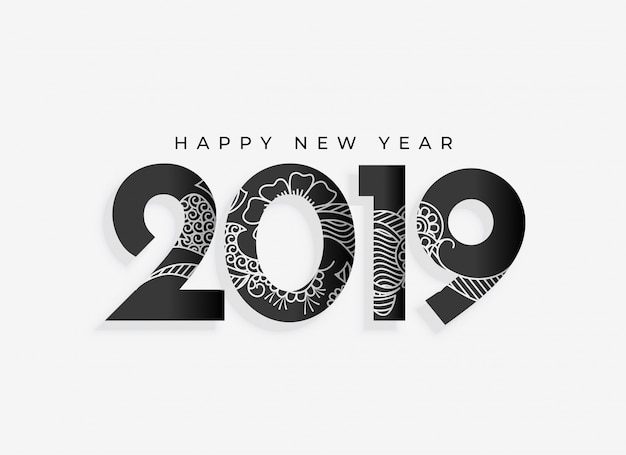 Nuovo anno 2019 design artistico Vettore gratuito