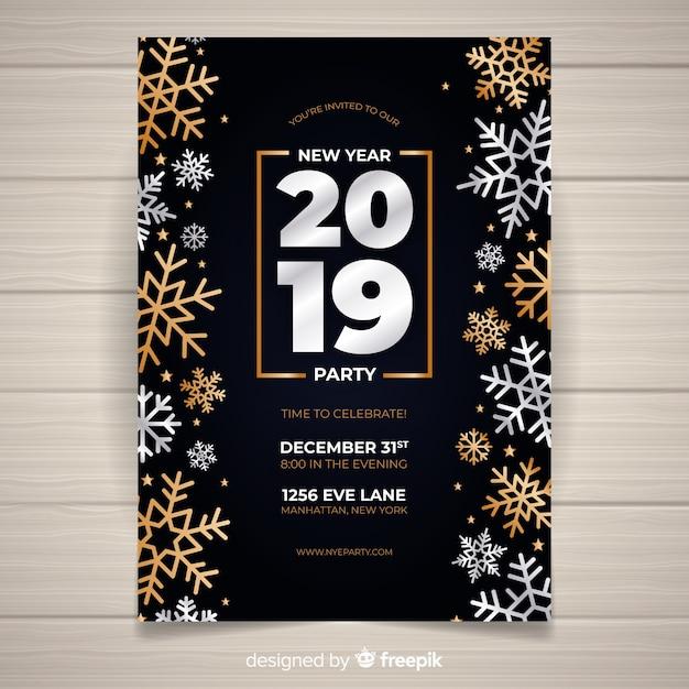 Nuovo anno 2019 partito volantino Vettore gratuito