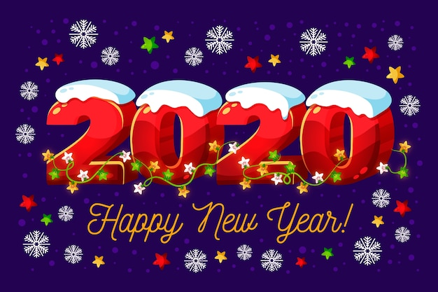 Nuovo anno 2020 con luci neve e stringa Vettore gratuito