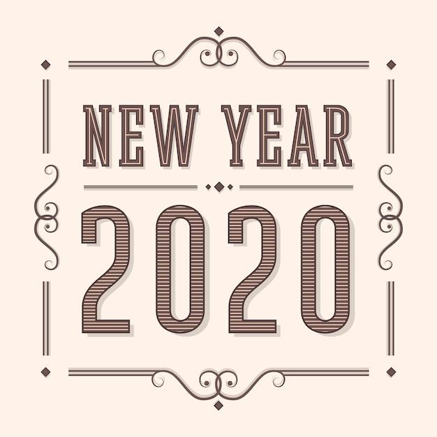 Nuovo anno 2020 in stile vintage Vettore gratuito