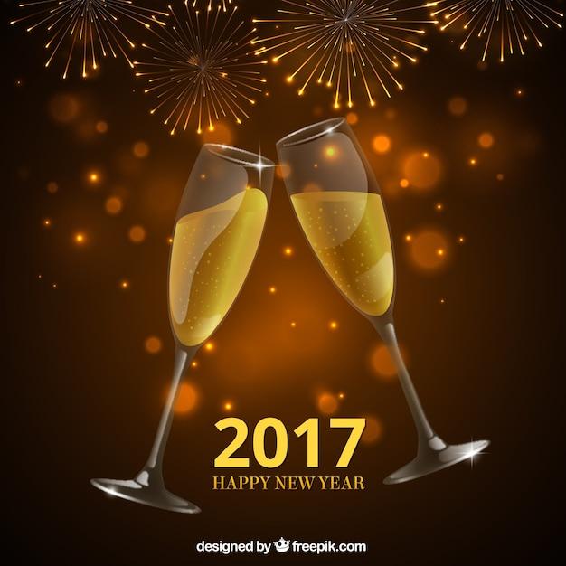Nuovo anno brindisi di champagne sfondo Vettore Premium