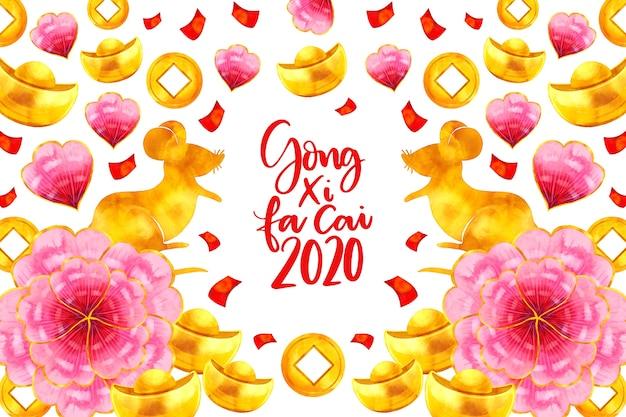 Nuovo anno cinese dell'acquerello con i fiori Vettore gratuito
