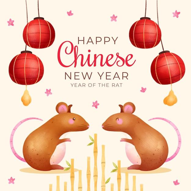 Nuovo anno cinese dell'acquerello con i ratti Vettore gratuito