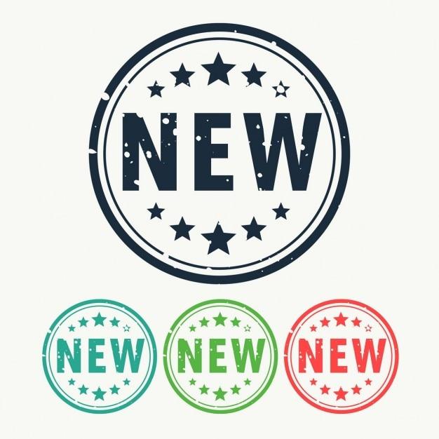 Nuovo badge etichetta di timbro in stile gunge Vettore gratuito