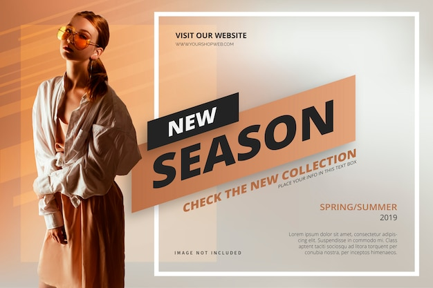 Nuovo modello di banner per la stagione Vettore gratuito