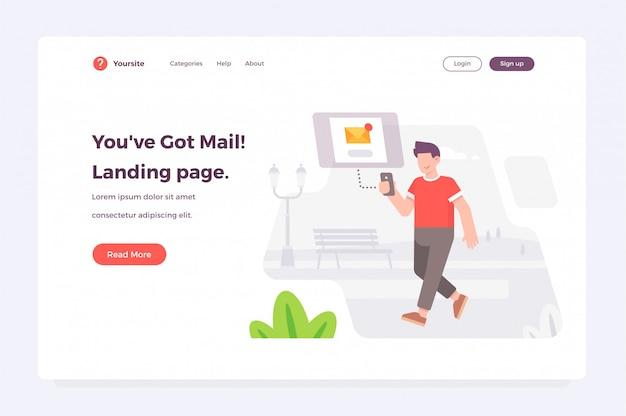 Nuovo modello web di pagina di destinazione messaggio ricevuto Vettore Premium