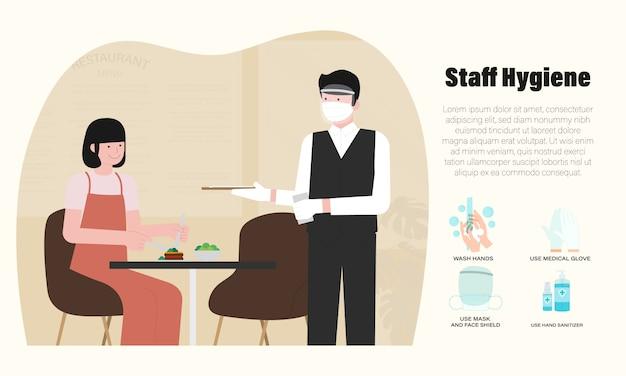 Nuovo normale del ristorante infographic con la maschera d'uso del cameriere, illustrazione medica del boschetto Vettore Premium