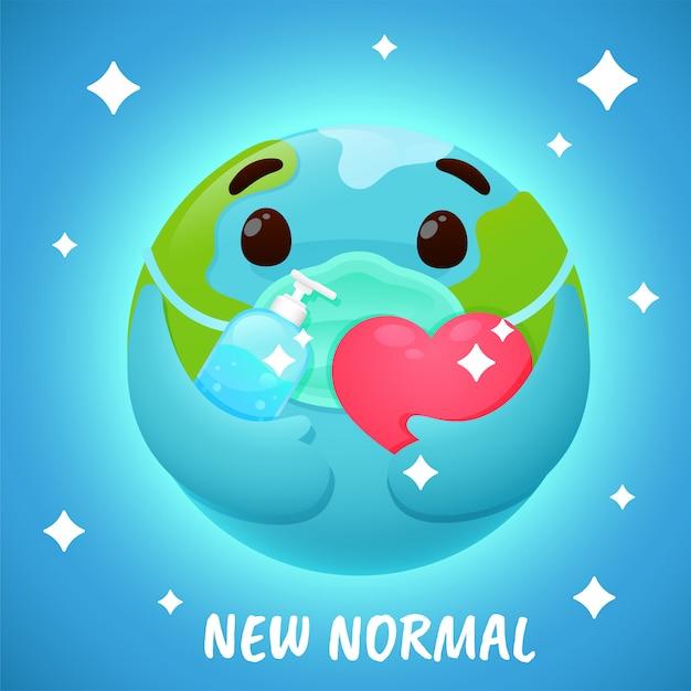 Nuovo normale. globo del fumetto che indossa una maschera e lavarsi le mani con alcool per prevenire il virus della corona. Vettore Premium