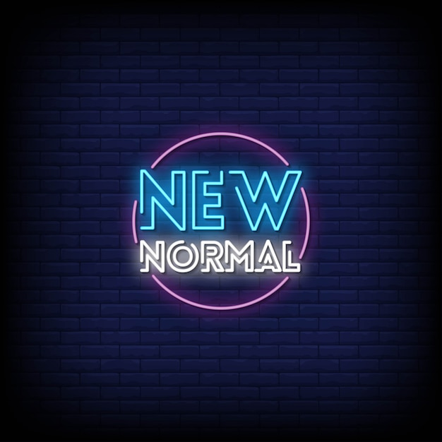 Nuovo testo normale in stile insegne al neon Vettore Premium
