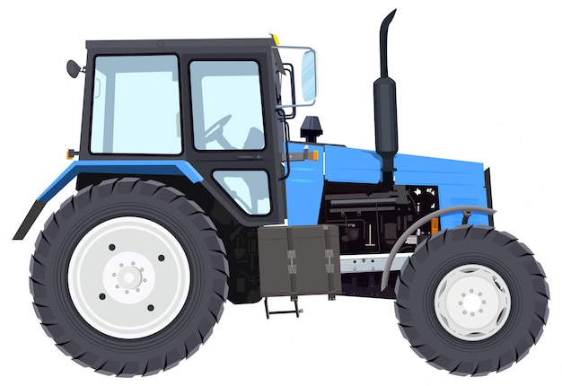 Nuovo trattore blu. macchinari agricoli. trattore a ruote Vettore Premium