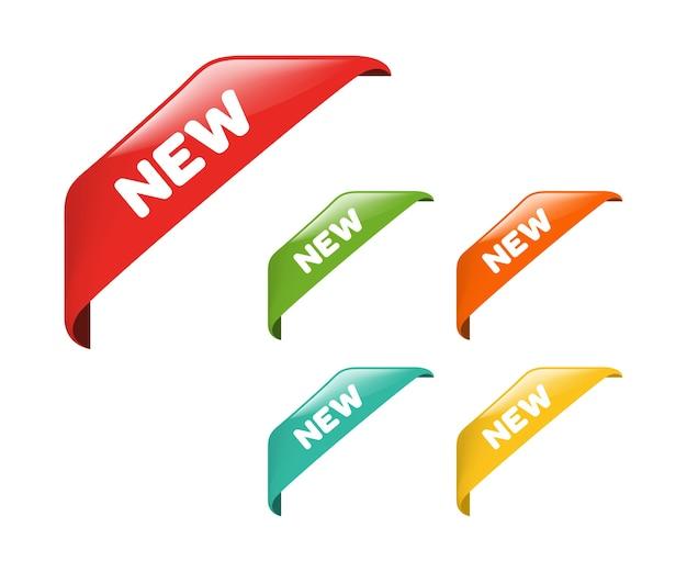 Nuovo vettore di nastro e banner tag. Vettore Premium