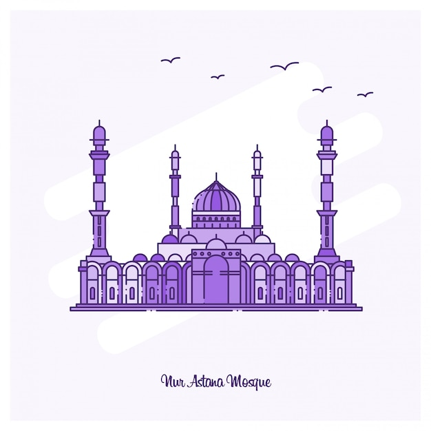 Nur astana mosque landmark Vettore gratuito