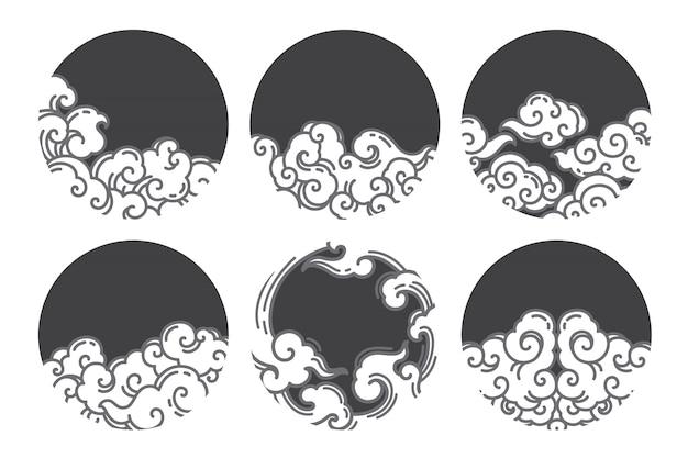Nuvola cinese linea logo design Vettore Premium