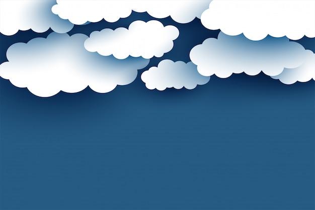 Nuvole bianche su sfondo blu design piatto Vettore gratuito