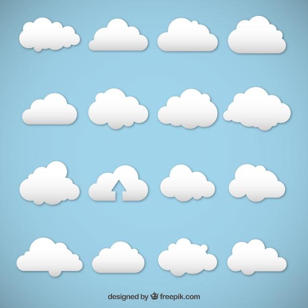 Nuvole bianche Vettore Premium
