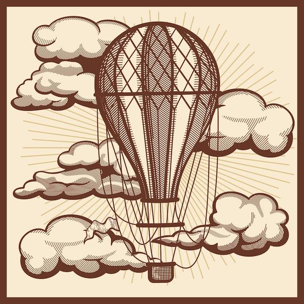 Nuvole disegnate a mano e schizzo d'annata dell'aerostato Vettore Premium
