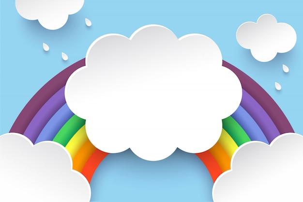 Nuvole e arcobaleno in stile art paper Vettore Premium