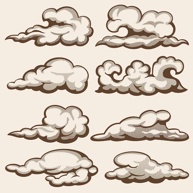 Nuvole incisione d'epoca. set disegnato a mano Vettore Premium