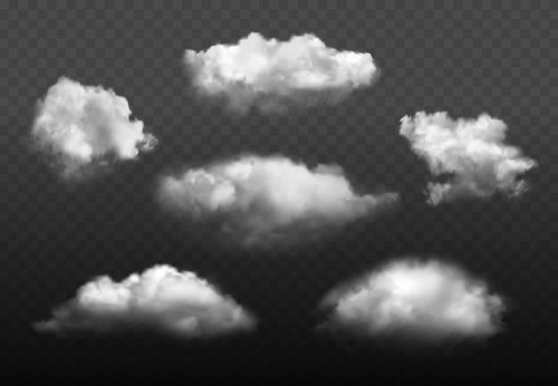 Nuvole realistiche. insieme blu dell'immagine degli elementi del tempo del cielo nuvoloso Vettore Premium