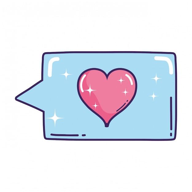 Nuvoletta con cuore amore Vettore Premium